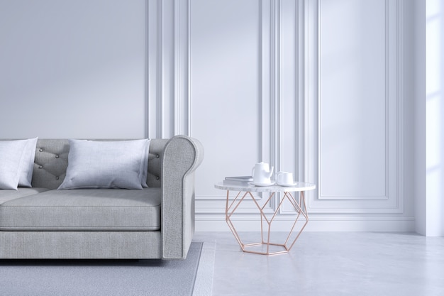 Modern and classic livingroom interior design, white and cozy room concept
