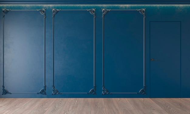 Современный классический интерьер в королевском синем цвете с лепниной, дверь, деревянный пол, потолок с подсветкой, лепнина.
