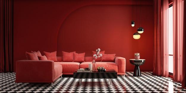 Интерьер в современном классическом стиле с красными стенами и лампой.