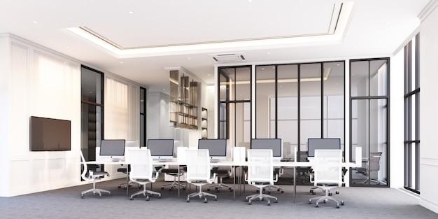 Современная классическая офисная рабочая зона с серым ковровым покрытием и белым рабочим столом