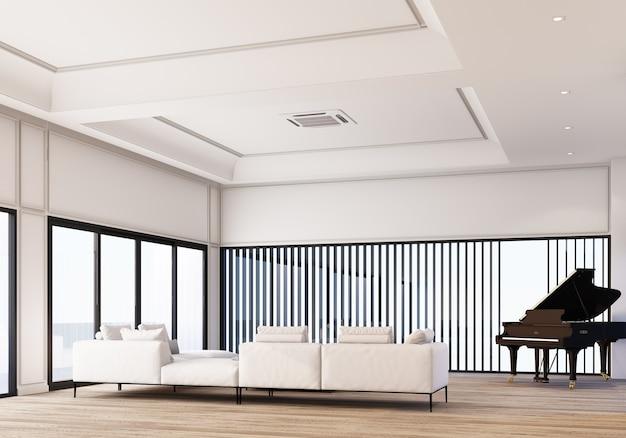 Современная классическая белая гостиная и обеденная зона с отделкой стеновыми панелями и деревянным полом с роялем. 3d рендеринг