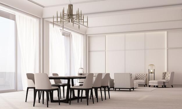 壁パネルの装飾と木製の床、薄手のカーテンの3dレンダリングを備えた大きな窓を備えた、モダンでクラシックな白いリビングとダイニングスペース