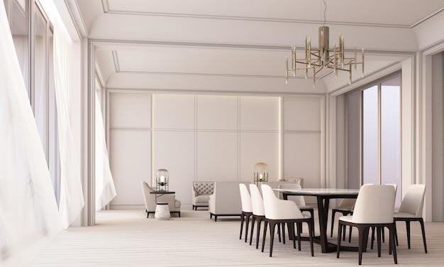 현대적인 고전적인 흰색 거실 및 식사 공간은 벽 패널 장식과 나무 바닥, 투명한 커튼 3d 렌더링이 있는 큰 창문을 갖추고 있습니다.