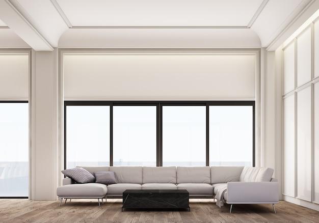 Современный классический белый диван в гостиной и журнальный столик с отделкой стеновыми панелями и деревянным полом. 3d рендеринг