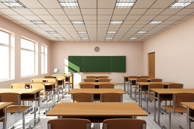 Modern classroom interior in light tones