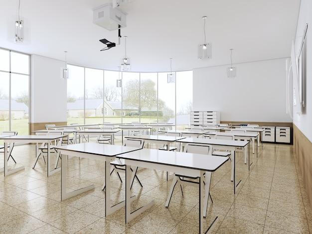 大きなパノラマの窓と白い机、明るいインテリアのモダンな教室。 3dレンダリング