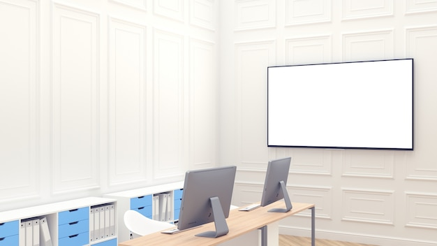 Modern clean workspace with blank big screen on the wall. white office