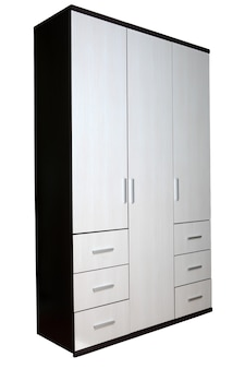 Modern closet for clothes two colors, texture wenge wood, six drawers, three-sided.