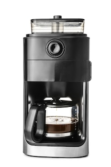 Modern coffee machine on white surface