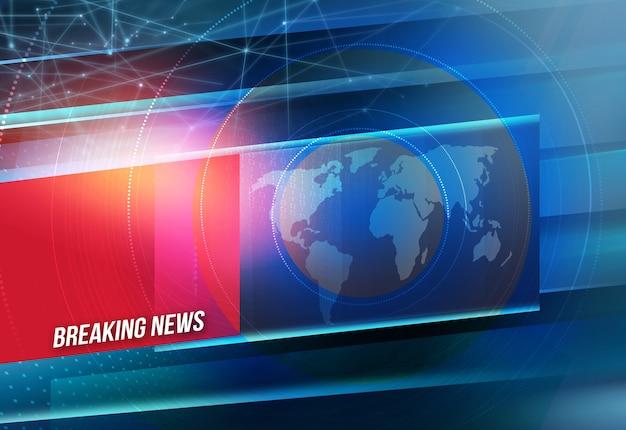 속보 뉴스 텍스트, 지구지도와 뜨겁고 긴급 뉴스 개념 현대 통신 배경.