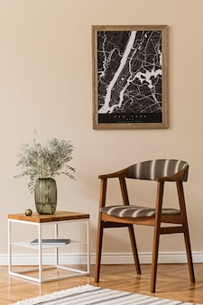 Modern composition of living room interior with brown  frame, design retro chair, coffee table, vase with flower and elegant accessories. stylish home staging. japandi.