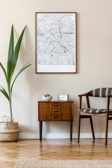 Modern composition of living room interior with brown  poster frame, design retro commode, chair, rattan basket with palm plant and elegant accessories. . stylish home staging. japandi.