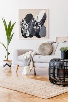 Современная композиция гостиной с диваном и макетом рамы в шаблоне домашнего декора
