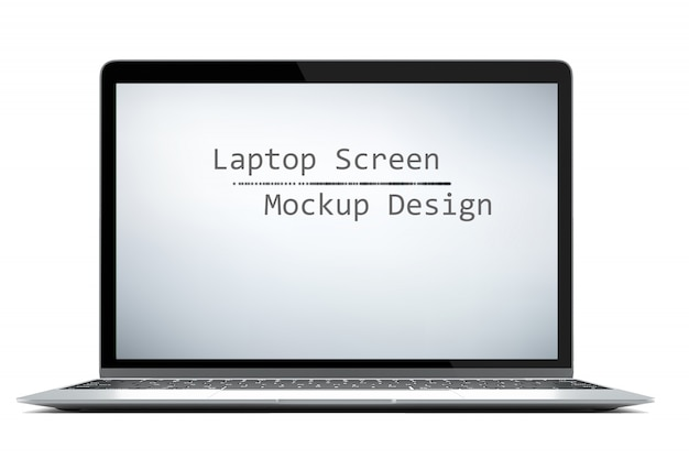 Modern computer laptop isolated on white background with green screen for mockup with cliping path