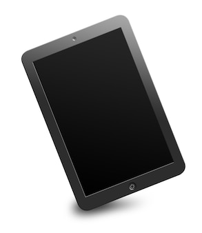 Modern computer tablet with black blank screen isolated on white background