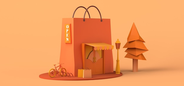Modern concept store with giant shopping bag online shopping copy space 3d illustration