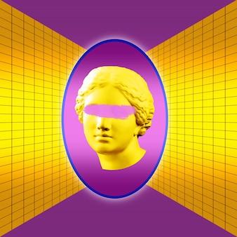 밀로의 비너스 머리의 노란색 보라색 화려한 고대 동상이 있는 현대 개념 예술 포스터. 현대 미술 콜라주입니다. 레트로 웨이브 스타일 포스터의 개념입니다.