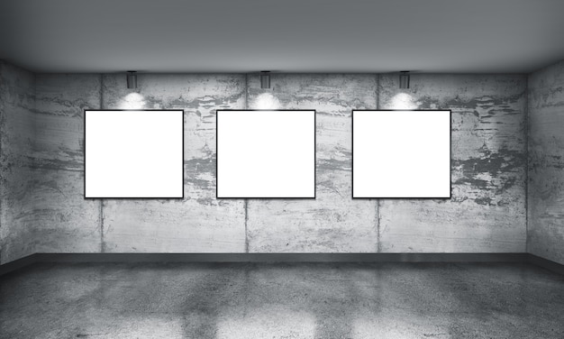 Modern concrete gallery room with directional spotlight