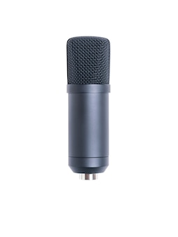 Modern condenser microphone isolated on white surface