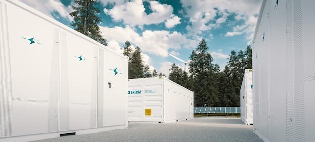 Современная контейнерная батарея с системой хранения зеленой энергии в сочетании с солнечными батареями и ветряной турбиной, расположенная в природе 3d-рендеринга.