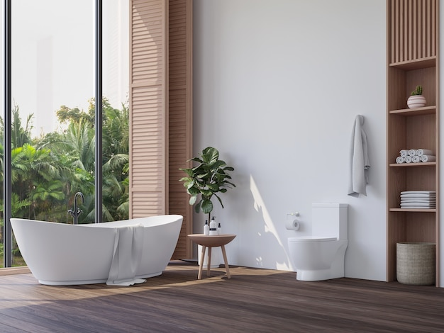 Modern contemporary bathroom with tropical style garden view 3d render overlook nature view