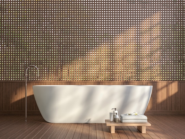 Modern contemporary bathroom with wood lattice wall 3d render sunlight shining into the room