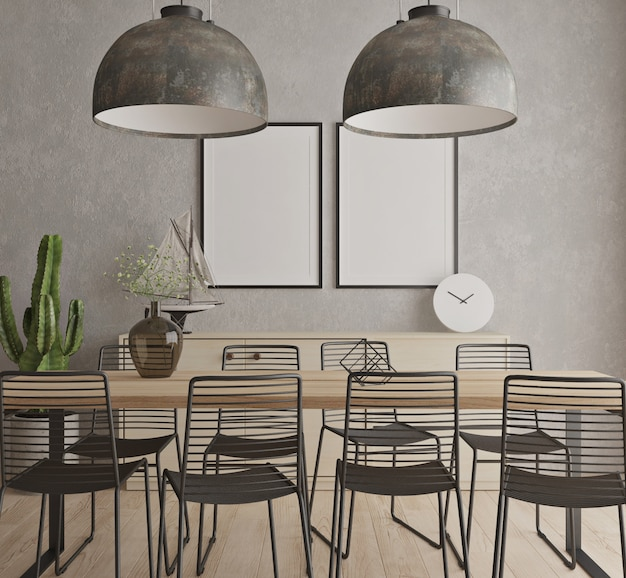 Modern contemporary dinning room with mock up poster frame