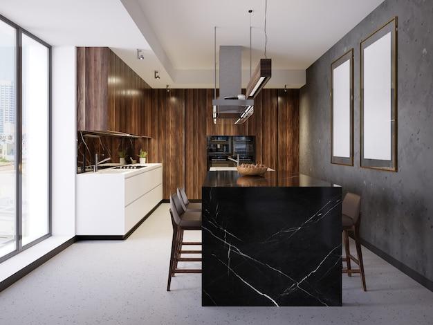 검은색 마라모르 바가 있는 현대적인 현대식 주방. 3d 렌더링.