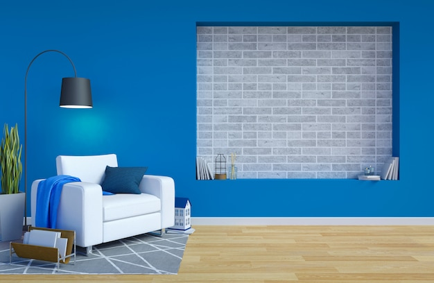 Современный современный интерьер гостиной с синей стеной и копией пространства для макета, 3d-рендеринга