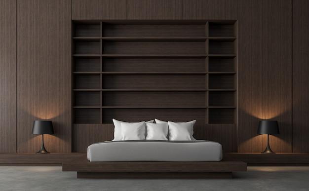 木製の棚の壁の3dレンダリングを備えたモダンで現代的なロフトベッドルーム