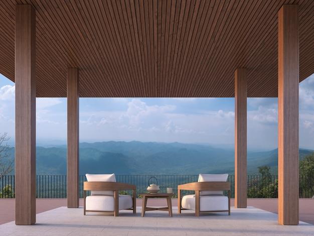 Современный современный павильон 3d визуализации бетонный пол деревянная колонна с видом на горы