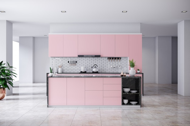 Modern contemporary pink kitchen