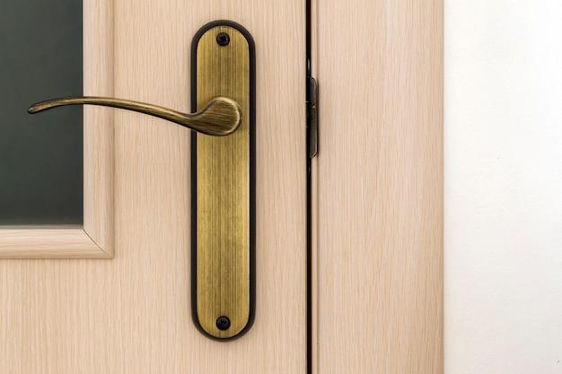 Modern, contemporary satin wooden door metal handle