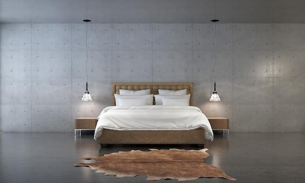モダンなコンテンポラリー スタイルの寝室の 3 d レンダリングには、白い布のベッドとコンクリートの壁のテクスチャ背景で飾られた木の床があります