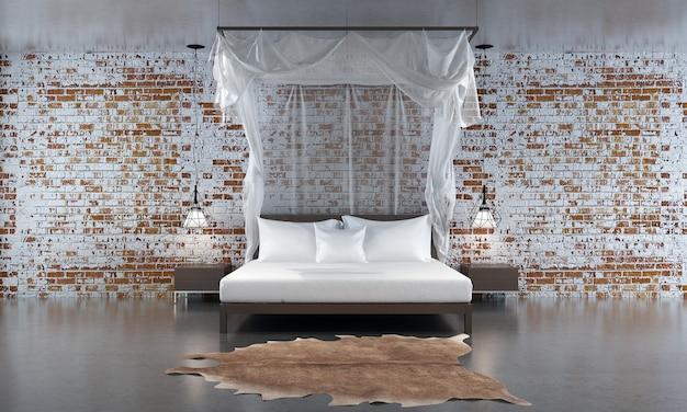 モダンなコンテンポラリー スタイルの寝室の 3 d レンダリングには、白い布のベッドと赤レンガの壁のテクスチャ背景で飾られた木の床があります