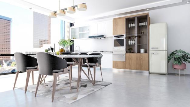 Современный современный стильный интерьер кухонной комнаты