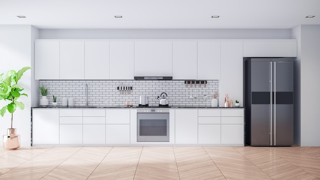 Современный современный белый кухонный интерьер комнаты