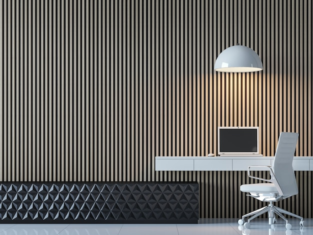 Modern contemporary working room interior decorate wall with vertical wood pattern 3d render