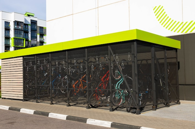 Modern, convenient parking for bicycles in front of a residential building.