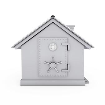 Современный коттедж с дверью пусковой площадки сейфа банка на белой предпосылке. 3d рендеринг