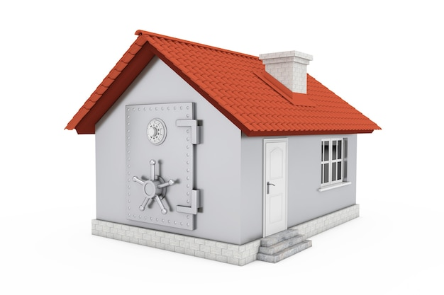 Modern cottage house with bank safe pad door on a white background. 3d rendering