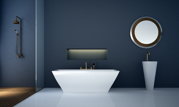Modern cozy bathroom interior and furniture decoration and blue wall pattern background