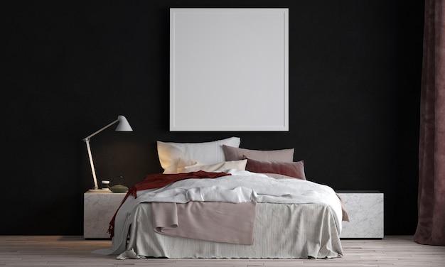 현대적인 아늑한 아름다운 침실 인테리어 디자인과 검은 벽