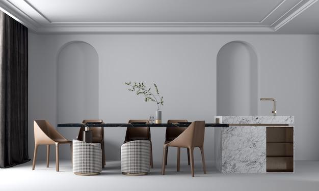 현대적인 아늑한 아름다운 식당 인테리어 디자인 및 벽