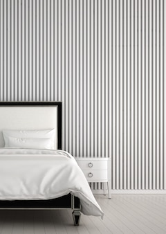 Modern cozy bedroom and white pattern wall texture interior design