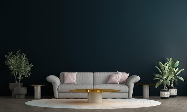 현대 아늑한 장식 거실과 파란색 벽 패턴 배경, 3d 렌더링의 인테리어 디자인을 모의