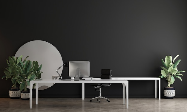 현대 아늑한 장식 작업실과 파란색 벽 패턴 배경, 3d 렌더링의 인테리어 디자인을 모의