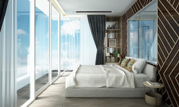 침실 인테리어의 현대적인 아늑한 디자인에는 나무 패턴 벽과 바다 전망, 3d 렌더링 사이드 테이블이 있습니다