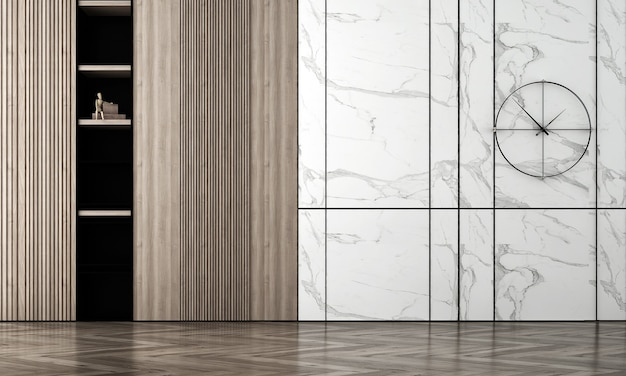 Modern cozy empty room interior mock up, white marble and wood wall background, scandinavian style, 3d render