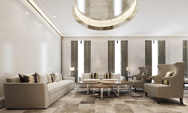 现代舒适的家庭室内模拟客厅和餐厅空间,舒适的茶几和装饰在白色客厅,3d渲染